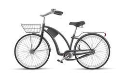 Wektorowy czarny rowerowy realistyczny 3d odosobniony mockup ilustracji