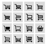 Wektorowy czarny wózek na zakupy ikony set Zdjęcia Royalty Free