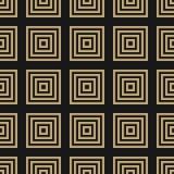 Wektorowy czarnych i złocistych geometrycznych kwadratów bezszwowy wzór liniowe tło royalty ilustracja