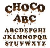 Wektorowy czekoladowy letterhead abecadło Błyszczący, oszkleni listy ustawiający, Zdjęcia Stock