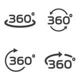 Wektorowy czerń 360 stopni ikony ustawiać Obrazy Stock