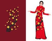 Wektorowy Czereśniowy okwitnięcie na długiej sukni dla szczęśliwego chińskiego nowego roku ilustracja wektor