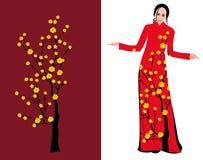 Wektorowy Czereśniowy okwitnięcie na długiej sukni dla szczęśliwego chińskiego nowego roku royalty ilustracja