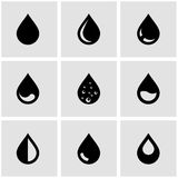 Wektorowy czerni kropli ikony set Zdjęcie Royalty Free
