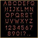 Wektorowy czerwony abecadło list, cyfry i interpunkcja, Zdjęcia Royalty Free