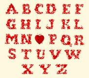 Wektorowy czerwony serca abecadło na białym tle Obraz Royalty Free