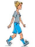 Wektorowy długi rysunek Kaukaski jasnogłowy nastolatek, ilustracji