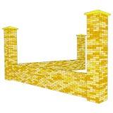 Wektorowy 3D brickwork ogrodzenia czerep w perspektywie Obrazy Royalty Free