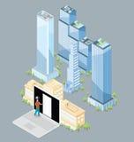 Wektorowy 3d Płaski Isometric budynek biurowy ilustracji