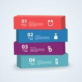 Wektorowy 3d szablon. Cztery pudełka z miejscem dla twój zawartości Obrazy Stock