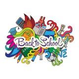Wektorowy dekoracyjny doodles projekt karciany Z powrotem Fotografia Royalty Free