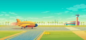Wektorowy desantowy pasek dla samolotów, terminal blisko ilustracji