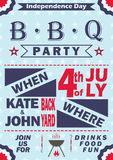Wektorowy dnia niepodległości grilla przyjęcia zaproszenie BBQ zaproszenia karty szablonu projekt 4th Lipa pinkinu przyjęcia ulot Obrazy Royalty Free