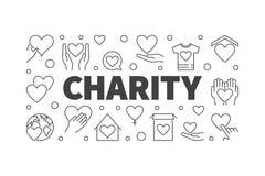 Wektorowy dobroczynności i darowizny kreskowy horyzontalny sztandar ilustracja wektor