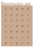 Wektorowy domowy elektroniki ikony set ilustracja wektor