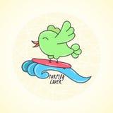 Wektorowy doodle kipieli ptak na fala Zdjęcie Royalty Free