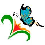 Wektorowy doodle kwiat z motylem Obrazy Royalty Free