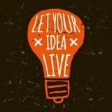 Wektorowy doodle lightbulb, pomarańczowy grunge konceptualny ilustracja wektor