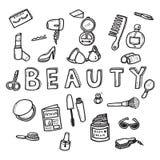 Wektorowy doodle nakreślenie kobiety piękna pojęcie na białym tle Zdjęcie Royalty Free