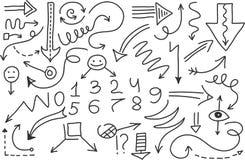 Wektorowy doodle strzała set Odosobneni symbole, projektów elementy Zdjęcie Royalty Free