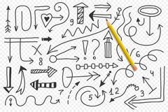 Wektorowy doodle strzała set Odosobneni symbole, projektów elementy Zdjęcia Royalty Free