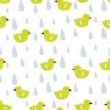 Wektorowy doodle wzór z kaczątkami i raindrops Fotografia Royalty Free