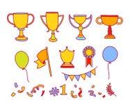 Wektorowy doodle zwycięzcy nakreślenie Ręka rysujący kolorowi przedmioty Zdjęcie Royalty Free