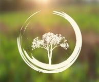 Wektorowy drzewa i Zen okrąg na Naturalnym tle Obraz Royalty Free