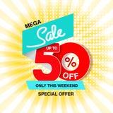 Wektorowy duży sprzedaż sztandar Mega sprzedaż do 50, daleko Czerwona błękitna oferta specjalna tylko w ten weekend Biznesowy sza zdjęcie royalty free