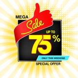 Wektorowy duży sprzedaż sztandar Mega sprzedaż do 75, daleko Czerwona błękitna oferta specjalna tylko w ten weekend Szablonu proj zdjęcia stock