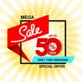 Wektorowy duży sprzedaż sztandar Mega sprzedaż do 50, daleko Czerwona błękitna oferta specjalna tylko w ten weekend Szablonu proj zdjęcie stock