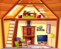 Wektorowy dupleksu przekrój poprzeczny - mansarda, żywy pokój ilustracji