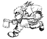 Wektorowy działający brodaty barbarzyńca z dwa cioskami royalty ilustracja