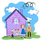 Wektorowy dzieciaka nakreślenie szczęśliwa rodzina Zdjęcia Stock