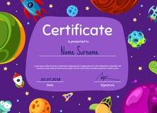 Wektorowy dziecko dyplom, świadectwo z kreskówki przestrzenią lub planetujemy ilustracja wektor
