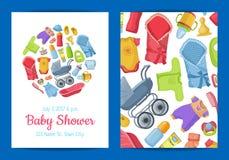 Wektorowy dziecko prysznic zaproszenia karty szablon z dzieci akcesoriami royalty ilustracja