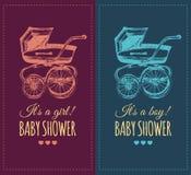 Wektorowy dziecko prysznic zaproszenie z pram ilustracją Wyjawia rodzaju dziecka prezenty zapraszają pojęcie Plakat z powozikiem Fotografia Stock