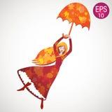 Wektorowy dziewczyny latanie z parasolem Dorothy Oz Obraz Stock