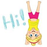Wektorowy dziewczyny stać do góry nogami Dzieciaka Headstand Obrazy Royalty Free