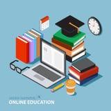 Wektorowy edukaci pojęcie Mieszkanie Isometric Online kursy treningowi Obrazy Royalty Free