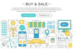 Wektorowy elegancki cienki kreskowy płaski sztuka współczesna projekta zakup i bubla handlu pojęcie ilustracji