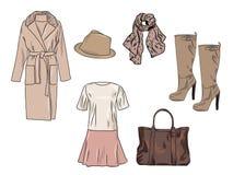 Wektorowy elegancki moda set kobiety ` s jesień, wiosna, zima lub akcesoria odzieżowi, Przypadkowy kolorowy strój z suknią, żakie ilustracja wektor