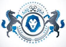 Wektorowy emblemat tworzący w rocznika heraldycznym projekcie Wektorowy blazon royalty ilustracja