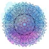 Wektorowy Etniczny mandala na kolorowym akwareli tle Zdjęcia Stock