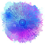 Wektorowy Etniczny mandala na kolorowym akwareli tle ilustracji