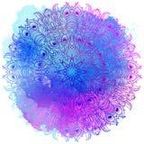 Wektorowy Etniczny mandala na kolorowym akwareli tle Zdjęcie Stock