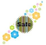 Wektorowy etykietki słowo, sprzedaż, rysująca od barwionych linii na round majcher metce z zębami i kwiatami różni kolory Obraz Royalty Free