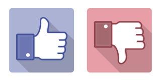 Wektorowy Facebook Jak niechęć kciuk Up Podpisuje Zdjęcia Royalty Free