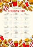 Wektorowy fasta food kalendarza szablonu 2018 nakreślenie ilustracji