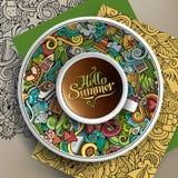 Wektorowy filiżanki kawy lata doodle Zdjęcie Royalty Free